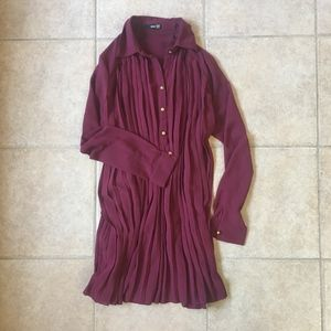 ASOS burgundy pleated swing shirt dress